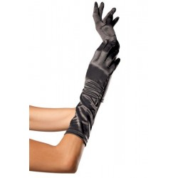Leg Avenue Guantes Satinados De Color Negro U