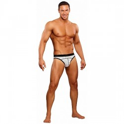 Male Power Tanga Blanco Rayas Negras XL