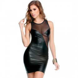 Forplay Mini Vestido Negro Combinado Con Transparencias XL