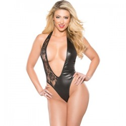 Body Escote V Negro Con Transparencias U